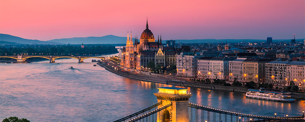 Hungarian Parliament and the Danube River at sunset
