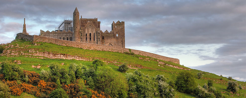 Ireland's Rock of Cashel atop a green hillside