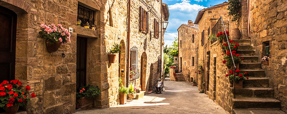 Alleyway of a stone village in Tuscany
